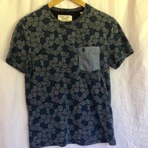 Original Penguin Blue Floral Print T-Shirt Small